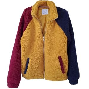 UO Colourblock teddy zip up jacket